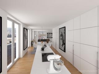 """""""Penthouse Apartment Study 2016 - Kitchen"""" / interior design, 3d + post production, photographic artworks by imagonauten / Daniel Linder."""