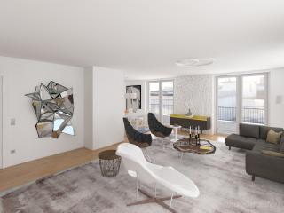 """Penthouse Apartment Study 2016 - Living Room 01"" / interior design, 3d + post production, photographic artworks by imagonauten / Daniel Linder."