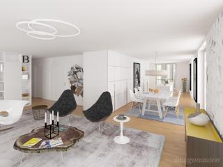 """Penthouse Apartment Study 2016 - Living Room 02"" / interior design, 3d + post production, photographic artworks by imagonauten / Daniel Linder."