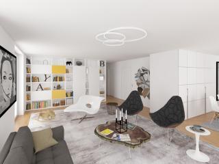 """Penthouse Apartment Study 2016 - Living Room 03"" / interior design, 3d + post production, photographic artworks by imagonauten / Daniel Linder."