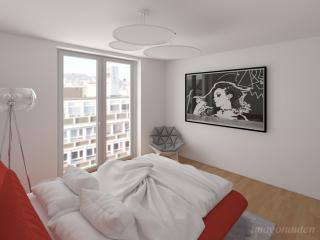 """Penthouse Apartment Study 2016 - Guest Bedroom"" / interior design, 3d + post production, photographic artworks by imagonauten / Daniel Linder."