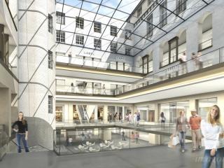 "Competition entry ""Shopping Center Berlin"". / 3d by imagonauten +studiobrand, hamburg, post production by studiobrand, Hamburg, design by nps Tchoban Voss Architekten Hamburg."