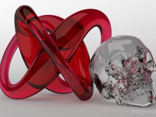 "Visualisation exercise - ""Torus knot and skull"". / Design, 3d + post production by imagonauten / Daniel Linder."