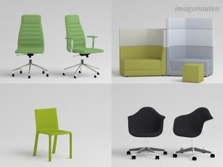 Rendered product shots of single furniture items for an office design project by a client. / Texturing, rendering + post production by imagonauten / Daniel Linder. All rights to the design of the furniture lie with the respective furniture designer / rights owner.